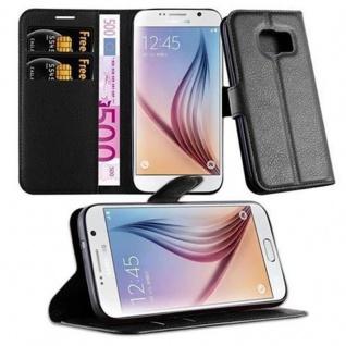 Cadorabo Hülle für Samsung Galaxy S7 in PHANTOM SCHWARZ - Handyhülle mit Magnetverschluss, Standfunktion und Kartenfach - Case Cover Schutzhülle Etui Tasche Book Klapp Style