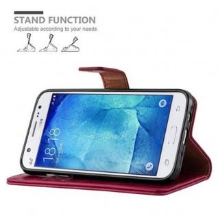 Cadorabo Hülle für Samsung Galaxy J5 2015 in WEIN ROT - Handyhülle mit Magnetverschluss, Standfunktion und Kartenfach - Case Cover Schutzhülle Etui Tasche Book Klapp Style - Vorschau 5