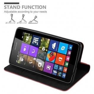 Cadorabo Hülle für Nokia Lumia 540 in APFEL ROT Handyhülle mit Magnetverschluss, Standfunktion und Kartenfach Case Cover Schutzhülle Etui Tasche Book Klapp Style - Vorschau 4