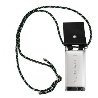 Cadorabo Handy Kette für Huawei 6P in CAMOUFLAGE Silikon Necklace Umhänge Hülle mit Silber Ringen, Kordel Band Schnur und abnehmbarem Etui Schutzhülle