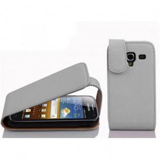 Cadorabo Hülle für Samsung Galaxy ACE 2 in MAGNESIUM WEIß - Handyhülle im Flip Design aus strukturiertem Kunstleder - Case Cover Schutzhülle Etui Tasche Book Klapp Style