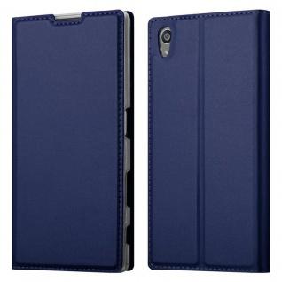 Cadorabo Hülle für Sony Xperia Z5 in CLASSY DUNKEL BLAU - Handyhülle mit Magnetverschluss, Standfunktion und Kartenfach - Case Cover Schutzhülle Etui Tasche Book Klapp Style