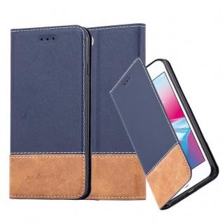 Cadorabo Hülle für Apple iPhone 7 / iPhone 7S / iPhone 8 in BLAU BRAUN ? Handyhülle mit Magnetverschluss, Standfunktion und Kartenfach ? Case Cover Schutzhülle Etui Tasche Book Klapp Style