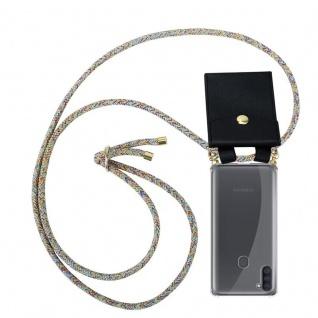 Cadorabo Handy Kette für Samsung Galaxy A11 in RAINBOW Silikon Necklace Umhänge Hülle mit Gold Ringen, Kordel Band Schnur und abnehmbarem Etui Schutzhülle
