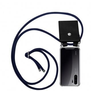 Cadorabo Handy Kette für Huawei P30 PRO in TIEF BLAU Silikon Necklace Umhänge Hülle mit Silber Ringen, Kordel Band Schnur und abnehmbarem Etui Schutzhülle