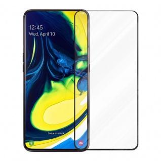 Cadorabo Vollbild Panzer Folie für Samsung Galaxy A80 / A90 - Schutzfolie in TRANSPARENT mit SCHWARZ - Gehärtetes (Tempered) Display-Schutzglas in 9H Härte mit 3D Touch Kompatibilität - Vorschau 2