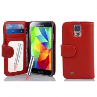 Cadorabo Hülle für Samsung Galaxy S5 / S5 NEO - Hülle in CAYENNE ROT ? Handyhülle mit Spiegel und Kartenfach - Case Cover Schutzhülle Etui Tasche Book Klapp Style