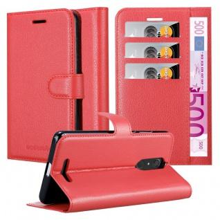 Cadorabo Hülle für WIKO VIEW in KARMIN ROT Handyhülle mit Magnetverschluss, Standfunktion und Kartenfach Case Cover Schutzhülle Etui Tasche Book Klapp Style