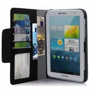Cadorabo Hülle für Samsung Galaxy TAB 2 (7.0 Zoll) - Hülle in LAKRITZ SCHWARZ ? Schutzhülle mit Standfunktion und Kartenfach - Book Style Etui Bumper Case Cover