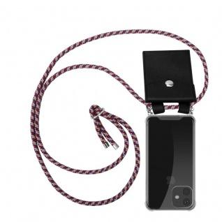 Cadorabo Handy Kette für Apple iPhone 11 (XI) in ROT GELB WEISS - Silikon Necklace Umhänge Hülle mit Silber Ringen, Kordel Band Schnur und abnehmbarem Etui - Schutzhülle
