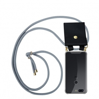 Cadorabo Handy Kette für OnePlus 5T in SILBER GRAU - Silikon Necklace Umhänge Hülle mit Gold Ringen, Kordel Band Schnur und abnehmbarem Etui ? Schutzhülle