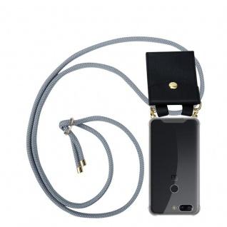 Cadorabo Handy Kette für OnePlus 5T in SILBER GRAU Silikon Necklace Umhänge Hülle mit Gold Ringen, Kordel Band Schnur und abnehmbarem Etui Schutzhülle