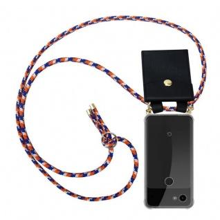 Cadorabo Handy Kette für Google Pixel 3a in ORANGE BLAU WEISS - Silikon Necklace Umhänge Hülle mit Gold Ringen, Kordel Band Schnur und abnehmbarem Etui ? Schutzhülle