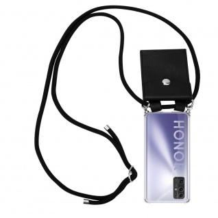 Cadorabo Handy Kette für Honor 30 in SCHWARZ Silikon Necklace Umhänge Hülle mit Silber Ringen, Kordel Band Schnur und abnehmbarem Etui Schutzhülle