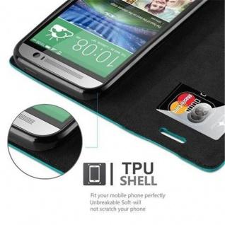Cadorabo Hülle für HTC ONE M8 (2.Generation) in PETROL TÜRKIS - Handyhülle mit Magnetverschluss, Standfunktion und Kartenfach - Case Cover Schutzhülle Etui Tasche Book Klapp Style - Vorschau 3
