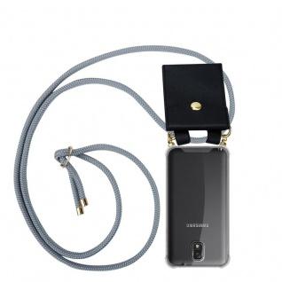 Cadorabo Handy Kette für Samsung Galaxy NOTE 3 in SILBER GRAU Silikon Necklace Umhänge Hülle mit Gold Ringen, Kordel Band Schnur und abnehmbarem Etui Schutzhülle