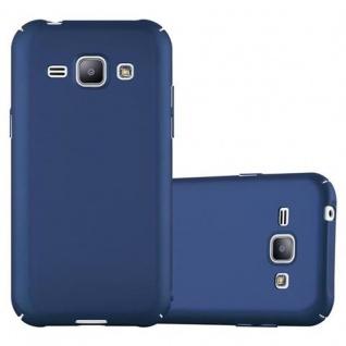Cadorabo Hülle für Samsung Galaxy J1 2015 in METALL BLAU Hardcase Handyhülle aus Plastik gegen Kratzer und Stöße Schutzhülle Bumper Ultra Slim Back Case Hard Cover