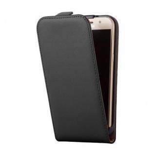 Cadorabo Hülle für Samsung Galaxy A3 2017 in KAVIAR SCHWARZ - Handyhülle im Flip Design aus glattem Kunstleder - Case Cover Schutzhülle Etui Tasche Book Klapp Style