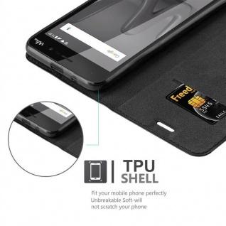 Cadorabo Hülle für WIKO LENNY 4 in NACHT SCHWARZ - Handyhülle mit Magnetverschluss, Standfunktion und Kartenfach - Case Cover Schutzhülle Etui Tasche Book Klapp Style - Vorschau 2