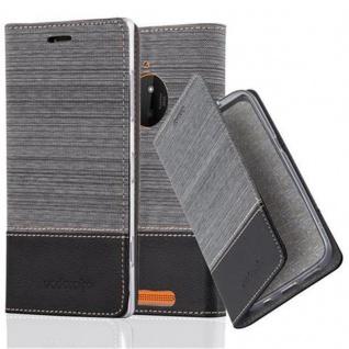 Cadorabo Hülle für Nokia Lumia 830 in GRAU SCHWARZ - Handyhülle mit Magnetverschluss, Standfunktion und Kartenfach - Case Cover Schutzhülle Etui Tasche Book Klapp Style