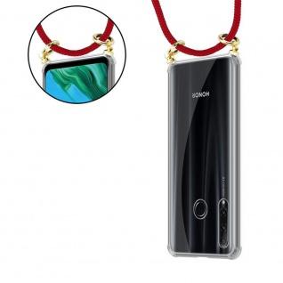 Cadorabo Handy Kette für Honor 20e in RUBIN ROT Silikon Necklace Umhänge Hülle mit Gold Ringen, Kordel Band Schnur und abnehmbarem Etui Schutzhülle - Vorschau 5