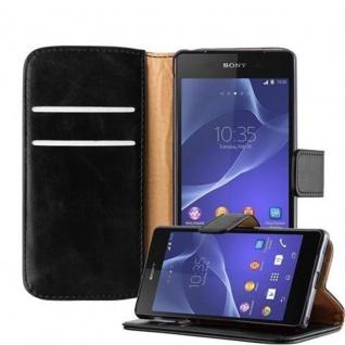 Cadorabo Hülle für Sony Xperia Z2 in GRAPHIT SCHWARZ - Handyhülle mit Magnetverschluss, Standfunktion und Kartenfach - Case Cover Schutzhülle Etui Tasche Book Klapp Style