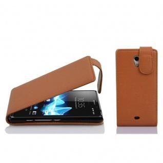 Cadorabo Hülle für Sony Xperia T in COGNAC BRAUN - Handyhülle im Flip Design aus strukturiertem Kunstleder - Case Cover Schutzhülle Etui Tasche Book Klapp Style