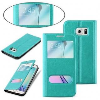 Cadorabo Hülle für Samsung Galaxy S6 EDGE in MINT TÜRKIS - Handyhülle mit Magnetverschluss, Standfunktion und 2 Sichtfenstern - Case Cover Schutzhülle Etui Tasche Book Klapp Style - Vorschau 3