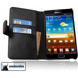 Cadorabo Hülle für Samsung Galaxy NOTE 1 in KAVIAR SCHWARZ - Handyhülle aus glattem Kunstleder mit Standfunktion und Kartenfach - Case Cover Schutzhülle Etui Tasche Book Klapp Style