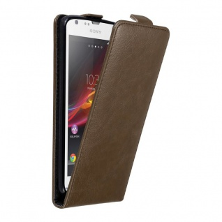Cadorabo Hülle für Sony Xperia SP in KAFFEE BRAUN - Handyhülle im Flip Design mit unsichtbarem Magnetverschluss - Case Cover Schutzhülle Etui Tasche Book Klapp Style
