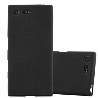 Cadorabo Hülle für Sony Xperia X Compact - Hülle in FROST SCHWARZ ? Handyhülle aus TPU Silikon im matten Frosted Design - Ultra Slim Soft Backcover Case Bumper