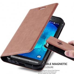Cadorabo Hülle für Samsung Galaxy XCover 3 in CAPPUCCINO BRAUN - Handyhülle mit Magnetverschluss, Standfunktion und Kartenfach - Case Cover Schutzhülle Etui Tasche Book Klapp Style