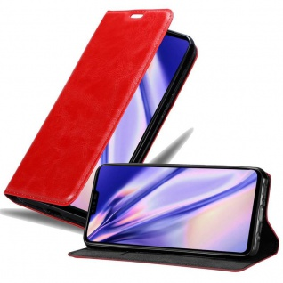 Cadorabo Hülle für LG V50 in APFEL ROT Handyhülle mit Magnetverschluss, Standfunktion und Kartenfach Case Cover Schutzhülle Etui Tasche Book Klapp Style