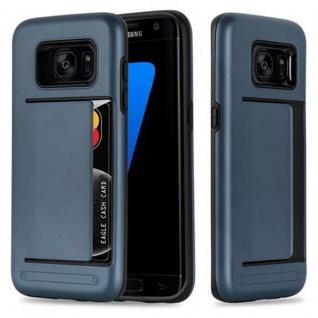 Cadorabo Hülle für Samsung Galaxy S7 EDGE - Hülle in ARMOR DUNKEL BLAU - Handyhülle mit Kartenfach - Hard Case TPU Silikon Schutzhülle für Hybrid Cover im Outdoor Heavy Duty Design