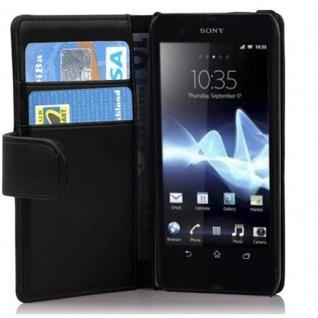 Cadorabo Hülle für Sony Xperia T in KAVIAR SCHWARZ - Handyhülle aus glattem Kunstleder mit Standfunktion und Kartenfach - Case Cover Schutzhülle Etui Tasche Book Klapp Style