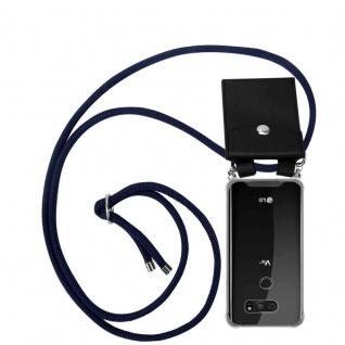 Cadorabo Handy Kette für LG V30 in TIEF BLAU - Silikon Necklace Umhänge Hülle mit Silber Ringen, Kordel Band Schnur und abnehmbarem Etui - Schutzhülle