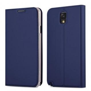 Cadorabo Hülle für Samsung Galaxy NOTE 3 in CLASSY DUNKEL BLAU - Handyhülle mit Magnetverschluss, Standfunktion und Kartenfach - Case Cover Schutzhülle Etui Tasche Book Klapp Style