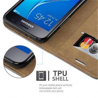 Cadorabo Hülle für Samsung Galaxy J1 2016 (6) - Hülle in GRAU BLAU - Handyhülle in Bast-Optik mit Kartenfach und Standfunktion - Case Cover Schutzhülle Etui Tasche Book Klapp Style - Vorschau 3