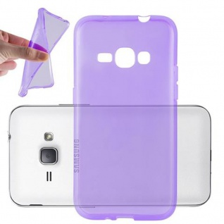 Cadorabo Hülle für Samsung Galaxy J1 2016 in TRANSPARENT LILA - Handyhülle aus flexiblem TPU Silikon - Silikonhülle Schutzhülle Ultra Slim Soft Back Cover Case Bumper