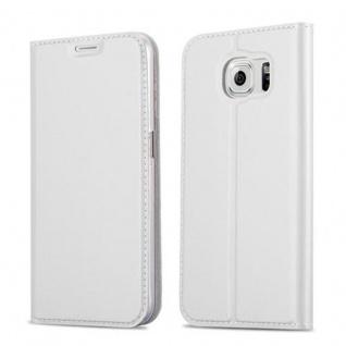 Cadorabo Hülle für Samsung Galaxy S6 in CLASSY SILBER Handyhülle mit Magnetverschluss, Standfunktion und Kartenfach Case Cover Schutzhülle Etui Tasche Book Klapp Style
