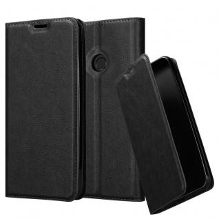 Cadorabo Hülle für Huawei P SMART 2019 in NACHT SCHWARZ Handyhülle mit Magnetverschluss, Standfunktion und Kartenfach Case Cover Schutzhülle Etui Tasche Book Klapp Style
