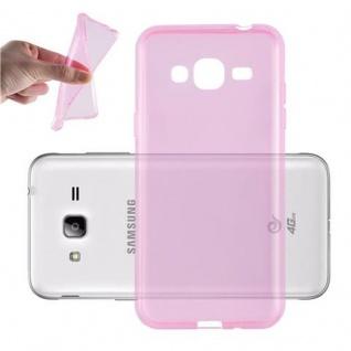 Cadorabo Hülle für Samsung Galaxy J3 2016 in TRANSPARENT PINK - Handyhülle aus flexiblem TPU Silikon - Silikonhülle Schutzhülle Ultra Slim Soft Back Cover Case Bumper