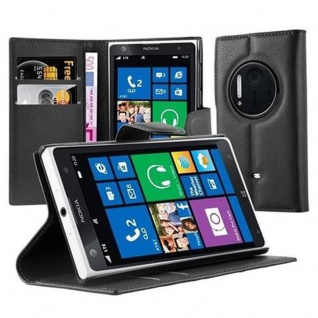 Cadorabo Hülle für Nokia Lumia 1020 in PHANTOM SCHWARZ Handyhülle mit Magnetverschluss, Standfunktion und Kartenfach Case Cover Schutzhülle Etui Tasche Book Klapp Style