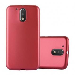 Cadorabo Hülle für Motorola MOTO G4 / MOTO G4 PLUS - Hülle in METALLIC ROT ? Handyhülle aus TPU Silikon im Matt Metallic Design - Ultra Slim Soft Backcover Case Bumper