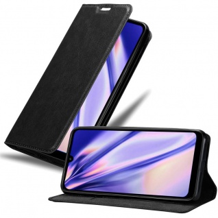 Cadorabo Hülle für Xiaomi RedMi 7 in NACHT SCHWARZ - Handyhülle mit Magnetverschluss, Standfunktion und Kartenfach - Case Cover Schutzhülle Etui Tasche Book Klapp Style