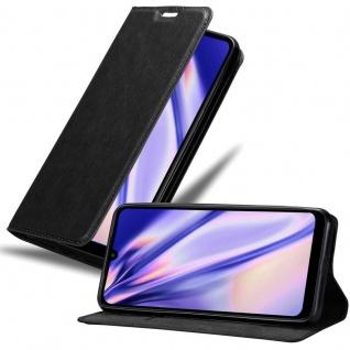 Cadorabo Hülle für Xiaomi RedMi 7 in NACHT SCHWARZ Handyhülle mit Magnetverschluss, Standfunktion und Kartenfach Case Cover Schutzhülle Etui Tasche Book Klapp Style