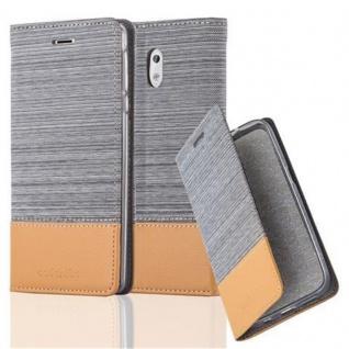 Cadorabo Hülle für Nokia 3 2017 in HELL GRAU BRAUN - Handyhülle mit Magnetverschluss, Standfunktion und Kartenfach - Case Cover Schutzhülle Etui Tasche Book Klapp Style