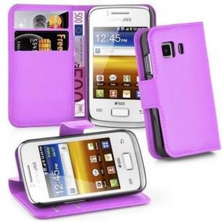 Cadorabo Hülle für Samsung Galaxy YOUNG 2 in MANGAN VIOLETT - Handyhülle mit Magnetverschluss, Standfunktion und Kartenfach - Case Cover Schutzhülle Etui Tasche Book Klapp Style