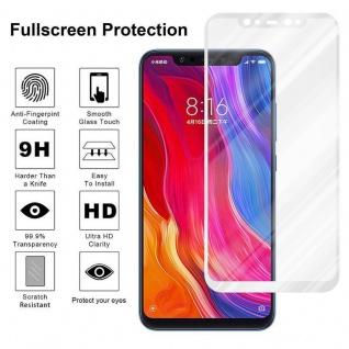 Cadorabo Vollbild Panzer Folie für Xiaomi Mi 8 - Schutzfolie in TRANSPARENT mit WEISS - Gehärtetes (Tempered) Display-Schutzglas in 9H Härte mit 3D Touch Kompatibilität - Vorschau 4