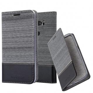 Cadorabo Hülle für LG V30S in GRAU SCHWARZ - Handyhülle mit Magnetverschluss, Standfunktion und Kartenfach - Case Cover Schutzhülle Etui Tasche Book Klapp Style
